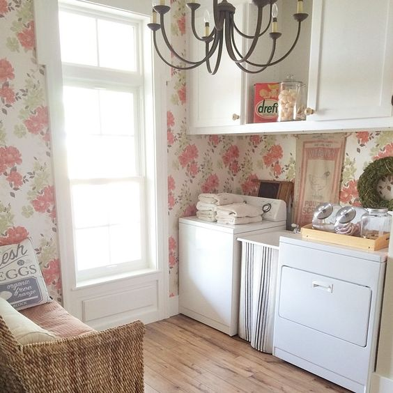 coral floral laundry room