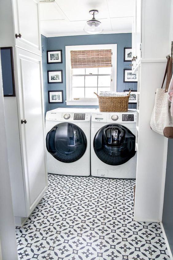blue tile laundry room