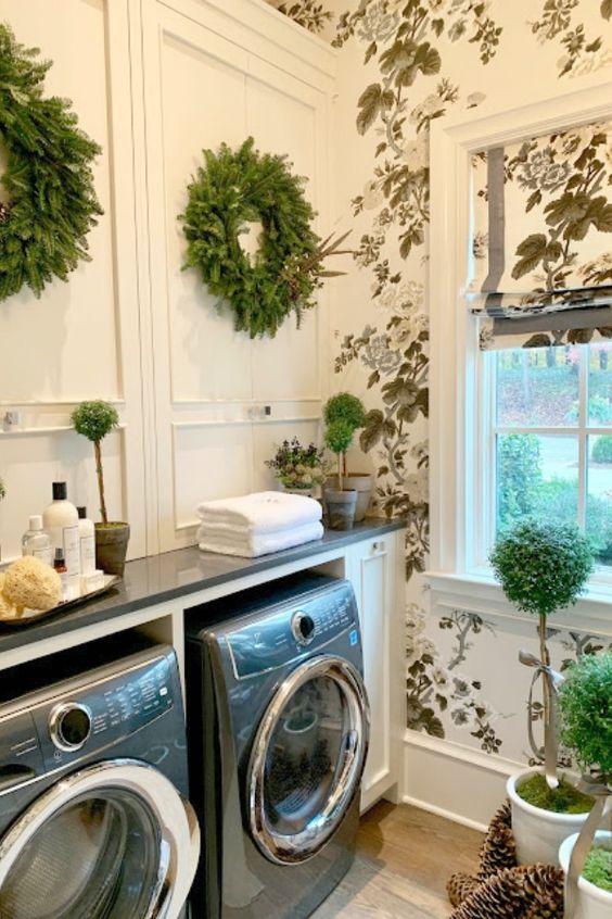 greenery laundry room
