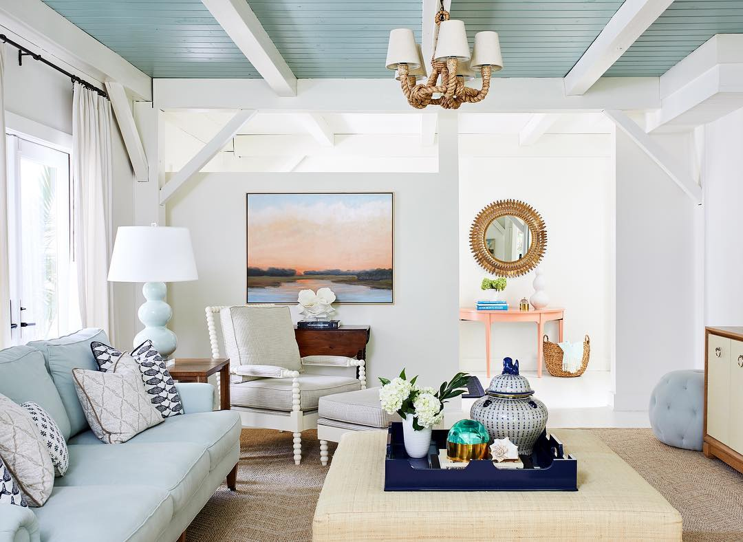 coastal living room with painted ceiling