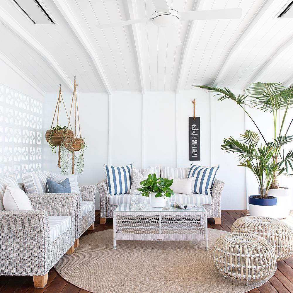 wicker coastal living room