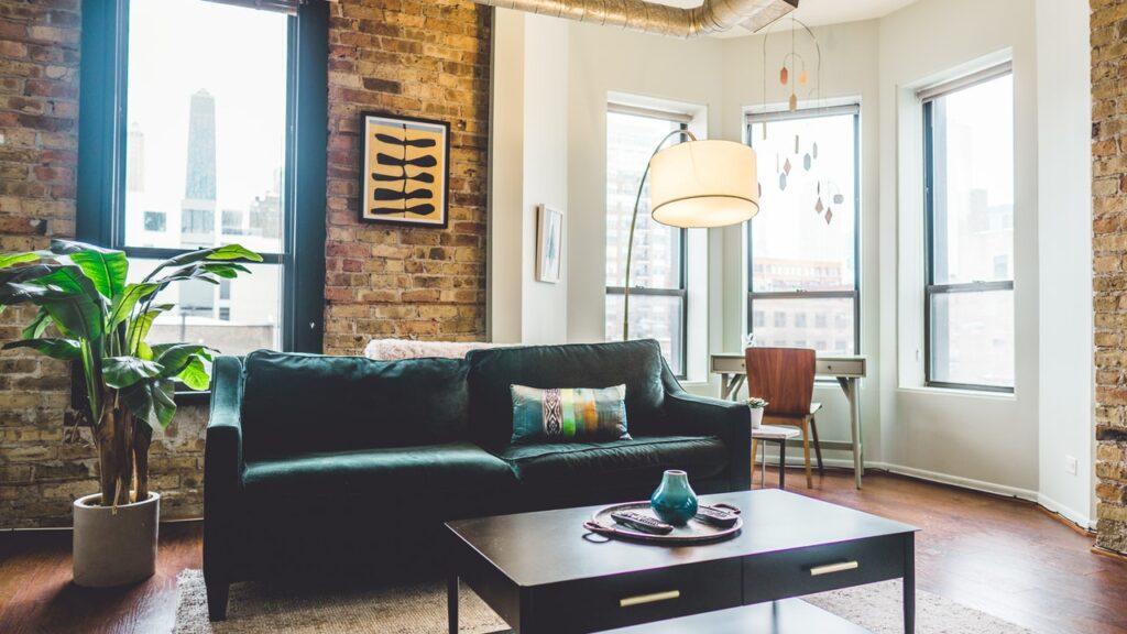 floor lamp behind sofa